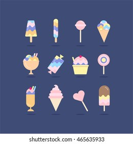 illustration of isolated candies, lollipops and ice cream set