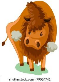 illustration of isolated cartoon bison on white background