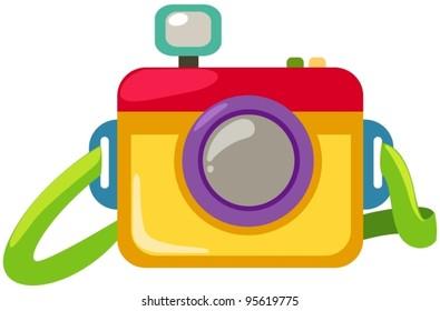 illustration of isolated cartoon camera on white