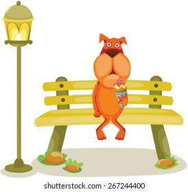 illustration of isolated cartoon dog sitting on the branch with ice cream