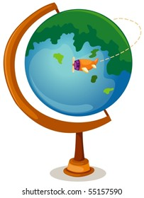 illustration of isolated cartoon globe and airplane
