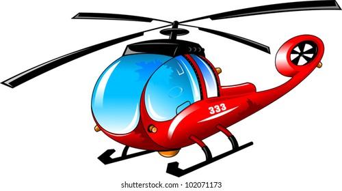 illustration of isolated cartoon helicopter on white background;