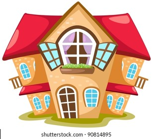 illustration of isolated cartoon house on white  background