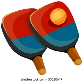 illustration of isolated cartoon ping pong paddles with ball