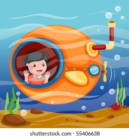 illustration of isolated cartoon submarine underwater