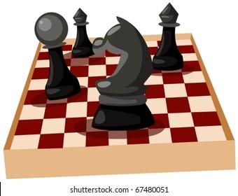 illustration of isolated chess on white background