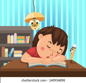 illustration of isolated child learns at night vector