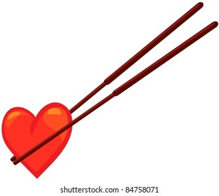illustration of isolated chopstick with heart on white