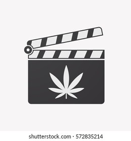 Illustration of an isolated clapper board with a marijuana leaf