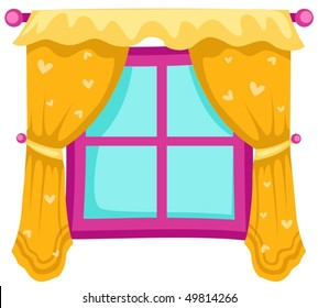 illustration of isolated a closed window with yellow curtains