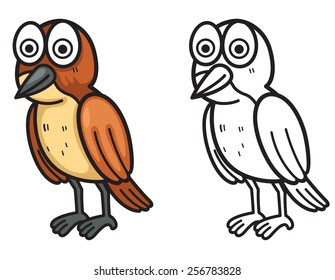illustration of isolated colorful and black and white xenops for coloring book