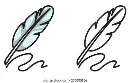 Illustration of isolated colorful and black and white quill for coloring book