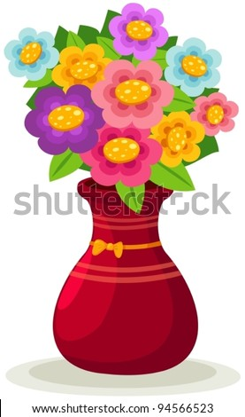 Illustration Isolated Colorful Flowers Vase On Stock Vector Royalty