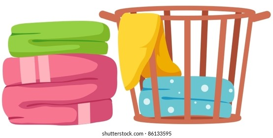 illustration of isolated colorful towels on white background