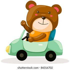 illustration of isolated cute bear driving a car on white background