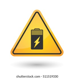 Illustration of an isolated danger signal icon with a battery