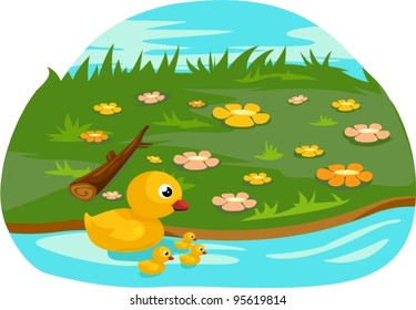 illustration of isolated duck family on white background