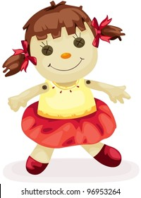 illustration of isolated fabric doll on white background
