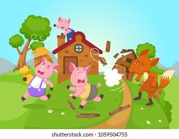 illustration of isolated fairy tale three little pigs vector