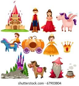 illustration of isolated fairytale set on white background