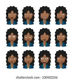 Illustration of an isolated female indian avatar expression set wearing headset