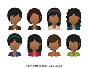 Illustration of an isolated female indian faceless avatar wearing a headset