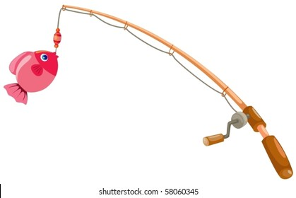 illustration of isolated fishing rod on white background