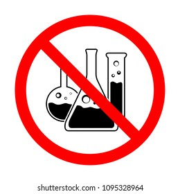 Illustration of an isolated forbidden signal with a chemical test tube vector icon sign. do not use toxic chemical flask vector icon