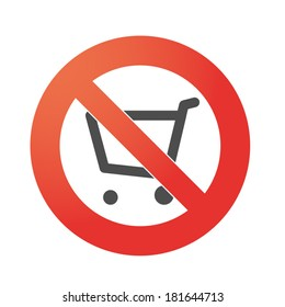 Illustration of an isolated forbidden signal  with a shopping cart