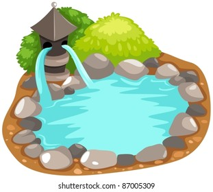 illustration of isolated fountain japanese on white background
