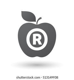 Illustration of an isolated fresh apple fruit icon with    the registered trademark symbol