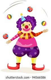 illustration of isolated funny clown juggling on white
