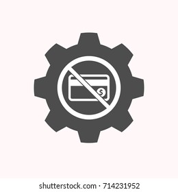 Illustration of a isolated gear cog with  a credit card  in a not allowed signal