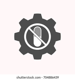 Illustration of a isolated gear cog with  a pill  in a not allowed signal