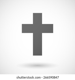 Illustration of an isolated grey cristian cross icon