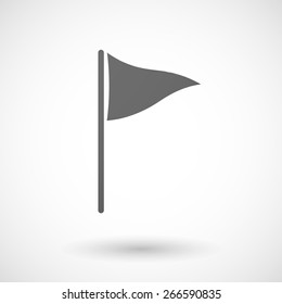 Illustration of an isolated grey golf flag