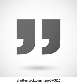 Illustration of an isolated grey quotes icon