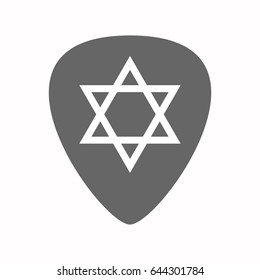 Illustration of an isolated guitar plectrum with a David star