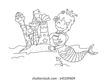 illustration of isolated hand drawn little mermaid & her sandy castles vector