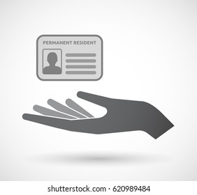Illustration of an isolated hand giving  a green card