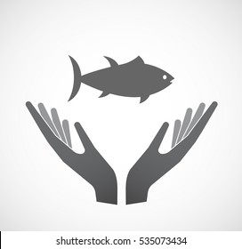 Illustration of an isolated hands offering sign with  a tuna fish