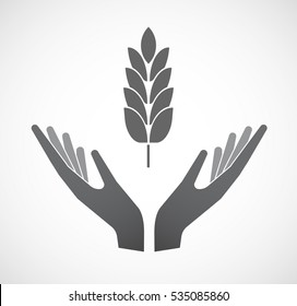 Illustration of an isolated hands offering sign with  a wheat plant icon