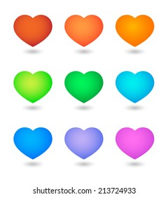 Illustration of an isolated heart icon set