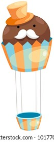 illustration of isolated hot air balloon cupcake on white