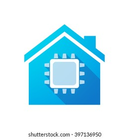 Illustration of an isolated house icon with a cpu