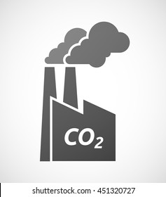 Illustration of an isolated industrial factory icon with    the text CO2
