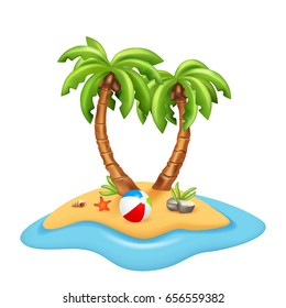 Illustration of isolated island with palm trees on white background. Vector illustration