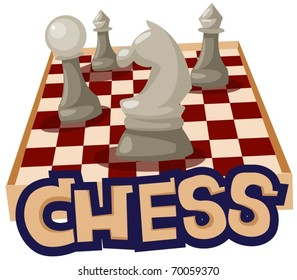 illustration of isolated letter of chess on white background