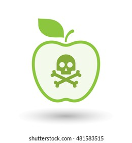 Illustration of an isolated  line art apple icon with a skull