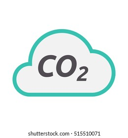 Illustration of an isolated line art cloud icon with    the text CO2